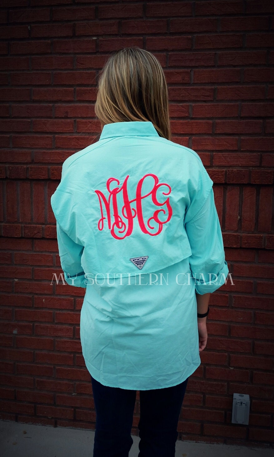 Monogram pfg columbia fishing shirt cover up bathing suit for Monogram fishing shirt