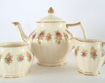 Vintage Floral Sadler Teapot Creamer & Sugar Set