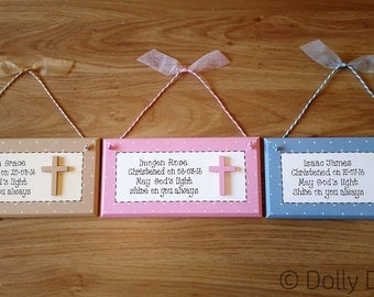 Personalised Christening Plaque Handmade Gift Present Sign New Baby Keepsake
