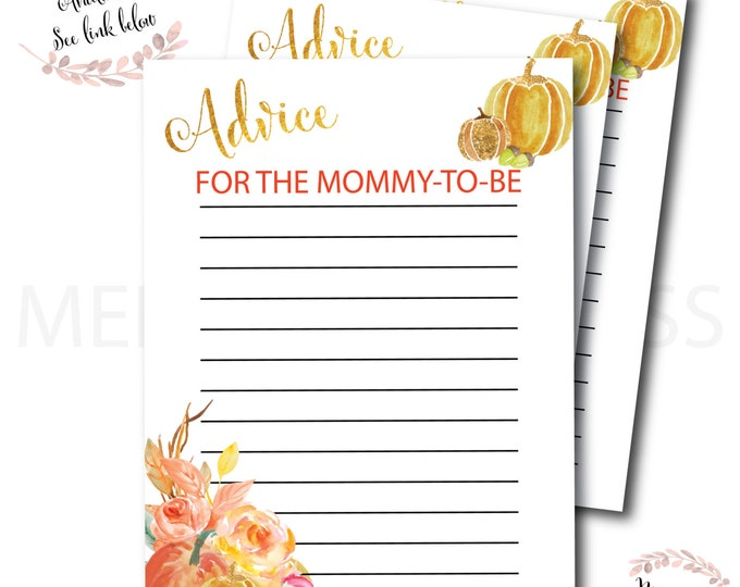 Fall Advice Card for the Mommy to Be // Autumn Advice Card // Pumpkin // Baby  Shower // Baby Sprinkle // Printed // CAPE BRETON COLLECTION