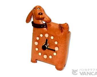 Dog 3D Leather Table Clock VANCA* Made in Japan #26266 Free Shipping