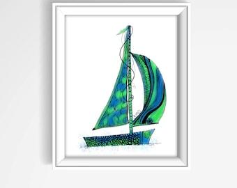 Sailboat Wall Art sailboat wall decor | etsy