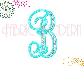 APPLIQUE' VINE MONOGRAM Embroidery Font Design, 4 inches tall, All letters, easy applique', #525