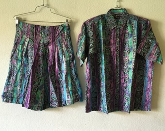 Vintage 1980's Blouse and Shorts India Two Piece Set