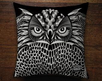 Owl Black and White Illustration Cushion