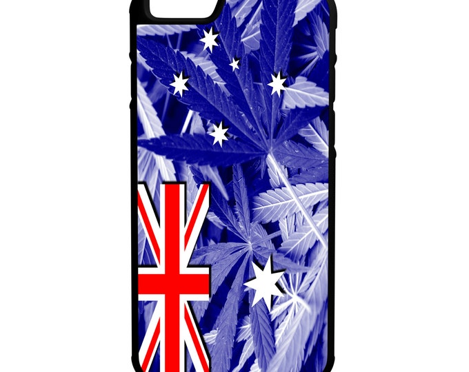 Australia Weed Flag iPhone Galaxy Note LG HTC Hybrid Rubber Protective Case Marijuana