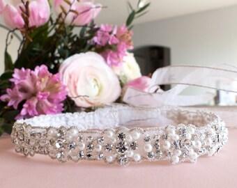 pearl and crystal headband, Swarovski headband, pearl and rhinestone headband, 1st communion headband, flower girl headband, bridal headband