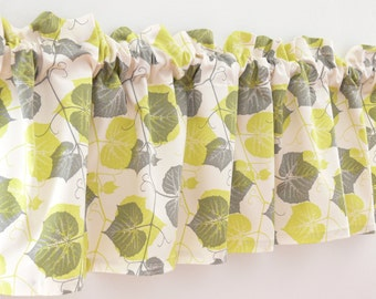 Valance with Leaves, Cream and Green Kitchen Valance, Kitchen Curtain, Curtain Panel, Kitchen Decor