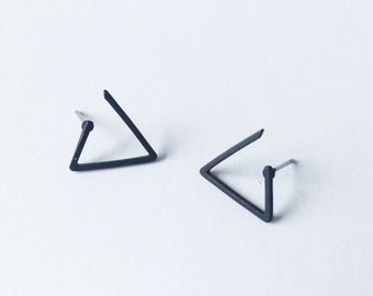 Triangle Stud Earrings - Matte Black earrings - Asymmetric earrings - Minimalist earrings - Post earrings - Stud earrings - Simple stud