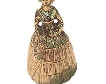 Brass Colonial Woman Bell, Brass Woman Bell, Brass Lady Bell, Antique Brass Bell, Unique Brass Handheld Bell, Vintage Home Decor