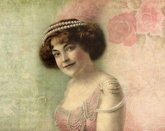 Shabby Chic Decor, Bohemian Decor, Vintage Portrait, Victorian Art, Pink and Green Print, Flapper
