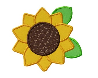 Sunflower Applique Machine Embroidery Digital Design Fall Farm