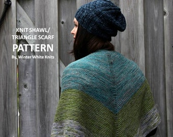 KNITTING PATTERN - shawl, Triangle scarf pattern, pdf Instant Download Knitting Pattern, NOT a finished product, a make it yourself tutorial
