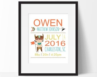 Birth stats print etsy tribal birth stats print birth stats wall art baby announcement new parent gift negle Images