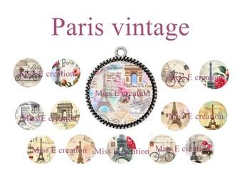 Paris vintage eiffel tower image digital cabochon