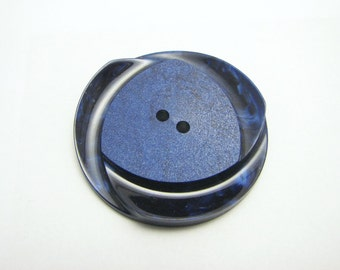 Extra Large Blue Button, Vintage casein button in royal blue colour, unused electric blue button
