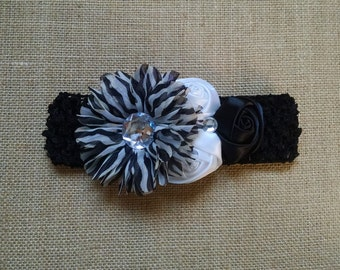 Flower Headband, Baby Headband, Black Headband, Baby Hair Accessory, Infant Headband, Baby Girl Headband, Rose Headband, Newborn Headband