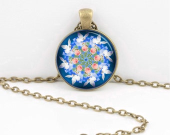 Mandala Doves and Roses Blue Pink and White  Pendant Necklace or Key Ring