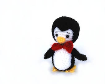 Penguin Amigurumi toy, animal art, creepy cute collectible doll, crochet decoration, handmade gift for teenagers, soft penguin fiber art