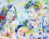 JOAN BAEZ & bob DYLAN - original watercolor portrait - one of a kind!
