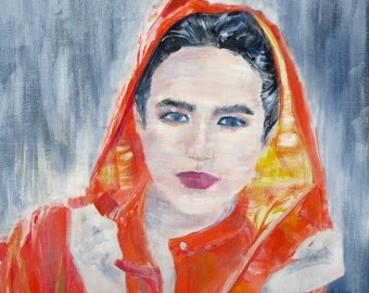 WOMAN with RAINCOAT - original acrylic painting - one of a kind!