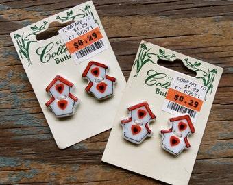 Vintage Glass Birdhouse Buttons