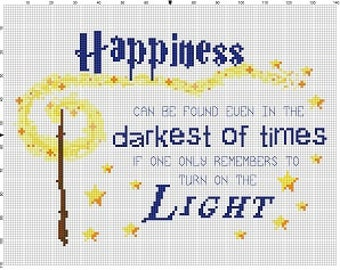 Happiness Can be found in the darkest of times - Harry Potter Cross Stitch Pattern - Instant Download