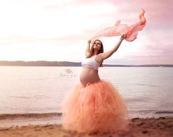 Maternity Tutu, Peach Maternity Tutu, CHOOSE YOUR COLOR! Pregnancy tutu, Maternity Photo Prop, Pregnancy Photo Prop