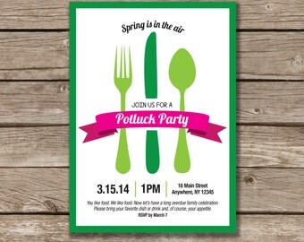 Potluck Party, Potluck Invitation, Printable, Made to Order
