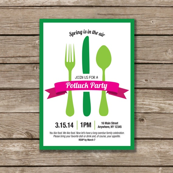potluck party potluck invitation printable made to order