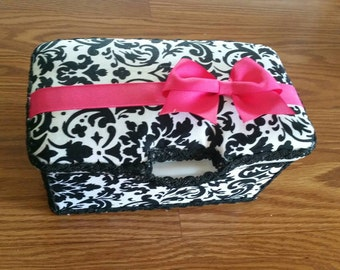 Large nursery wipes tub, damask nursery wipes box,  wipes tub, baby decorated large wipes  container.