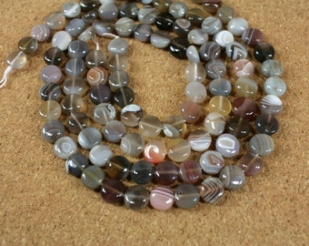 Botswana Agate Coin Beads - Smooth Grey, Brown and White Natural Stone Beads, 15.5 inch strand