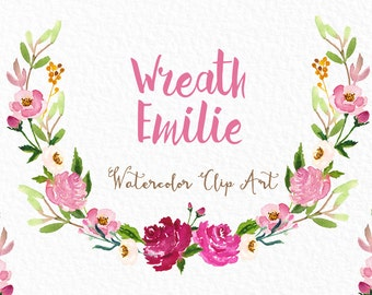 Digital Watercolours clipart hand drawn. Wreath roses Emilie  flowers. Romantic wedding, tender, pink pastel flowers , invitations