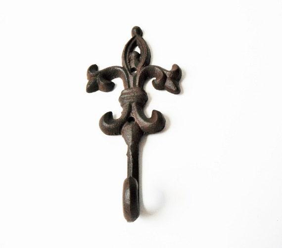 Items similar to metal wall hook fleur de lis wall hook satin brown distressed royal wall hook - Fleur de lis coat hook ...
