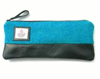 Harris tweed pencil pouch. Harris tweed and leather pencil case. Harris tweed iPhone 6 plus case. Harris tweed pouch. Harris tweed purse