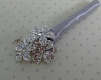Beautiful Silver Rhinestone Button Boutonnière.