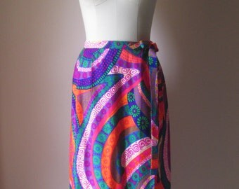 1970's Leslie Faye Personal Label Groovy Psychedelic/Neon/Day Glow Full Wrap Maxi Skirt/Hippie Sophisticate  #16005