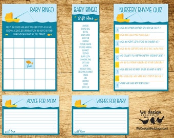Fishing Baby Shower Game Package  |  Includes Baby Bingo, Nursery Rhyme Quiz, Advice for Mom & Wishes for Baby  |  Printable Download