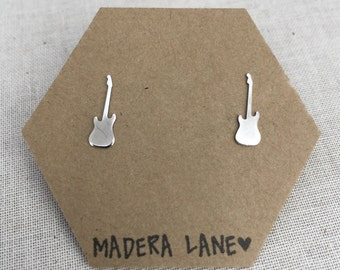 Tiny Guitar Stud Earrings in Sterling Silver. Sterling Silver Posts. Music Earring Stud Set. Rock n Roll Studs. Electric Guitar Earrings.