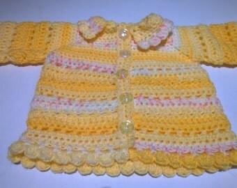 Crochet Baby Jacket. Baby Crochet Cardigan. 6 - 9 months