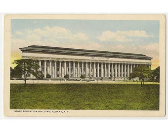 Albany New York vintage postcard | State Education Building | upstate New York | 1920s NY travel souvenir, hometown decor