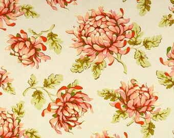 One Yard - Painted Mums - Peach with Cream Background  - Freshcut Collection -  Quilting Cotton Fabric - Free Spirit Heather Bailey