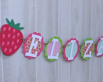 Strawberry birthday NAME banner, strawberry shortcake birthday party, READY-MADE
