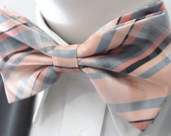 Light Peach And Melon With Bands Of  Silver, PreTied Bow Tie