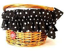 Wicker Bike Basket for Kids with liner, Polka Black, Bike Belle