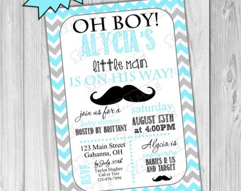 Mustache little man Baby shower invitation printable UPrint customized card by greenmelonstudios mustache chevron baby shower invite