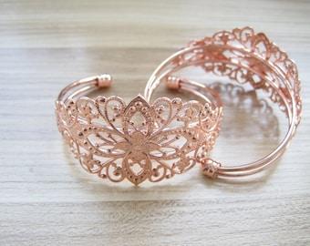 2pcs Rose gold flower bracelet,  35x60mm bracelet diy setting Jewelry findings  xj