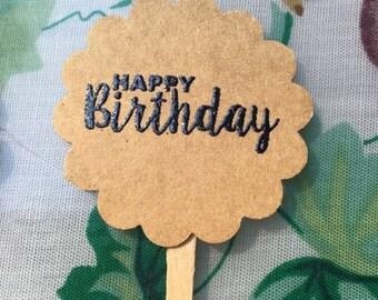 "Handmade ""Happy Birthday"" Cupcake Toppers-Birthday Party Food Pick-Birhday Treat Topper-Canapé Pick-Rustic Birthday Cupcake Topper-20ct"