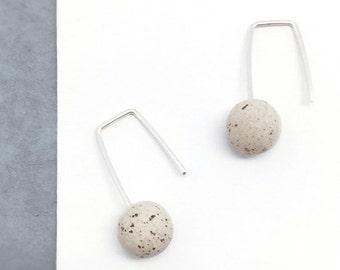 STUDY 21// Speckled stoneware Earrings // Sterling Silver Earrings // Minimal earrings //  Ceramic Jewelry