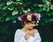Boho Purple, Blush and Cream Fall Floral Crown with Baby's Breath Accent